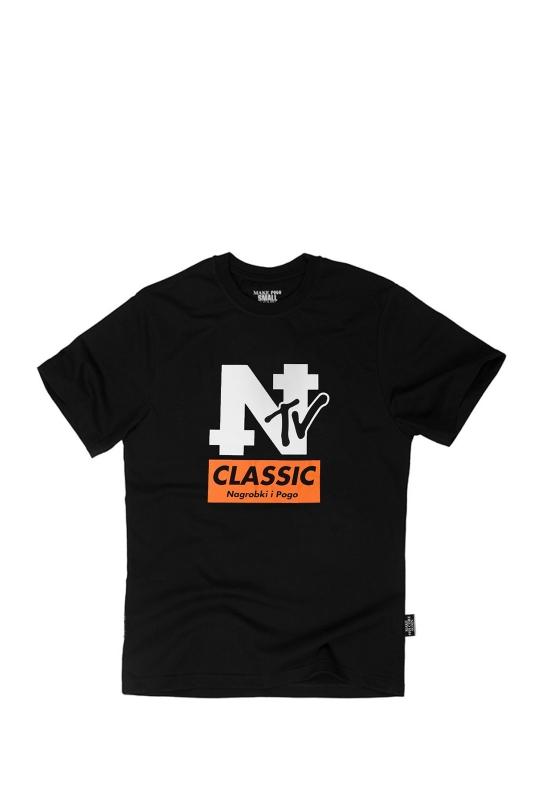 T-SHIRT NAGROBKI NTV BLACK | POGO